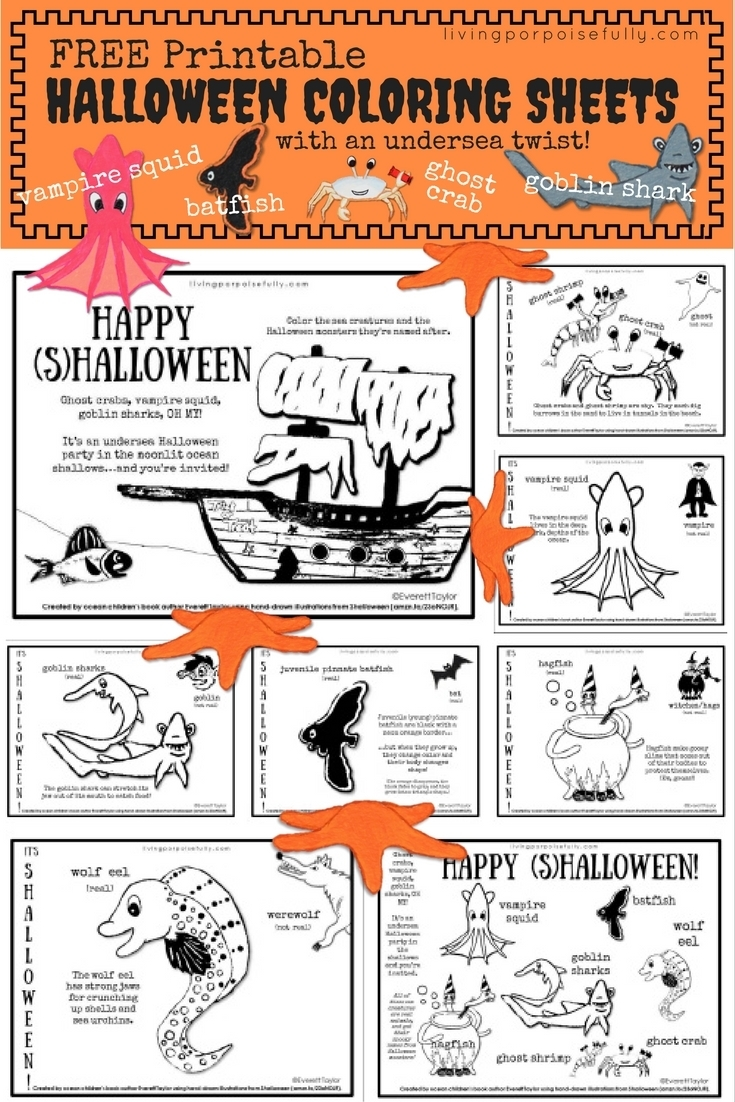 free printable undersea halloween coloring sheets