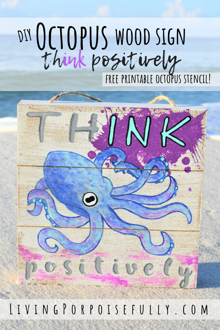 graphic regarding Printable Octopus referred to as Do it yourself Inspirational Octopus Ink Picket Indication, Stencil Coloring